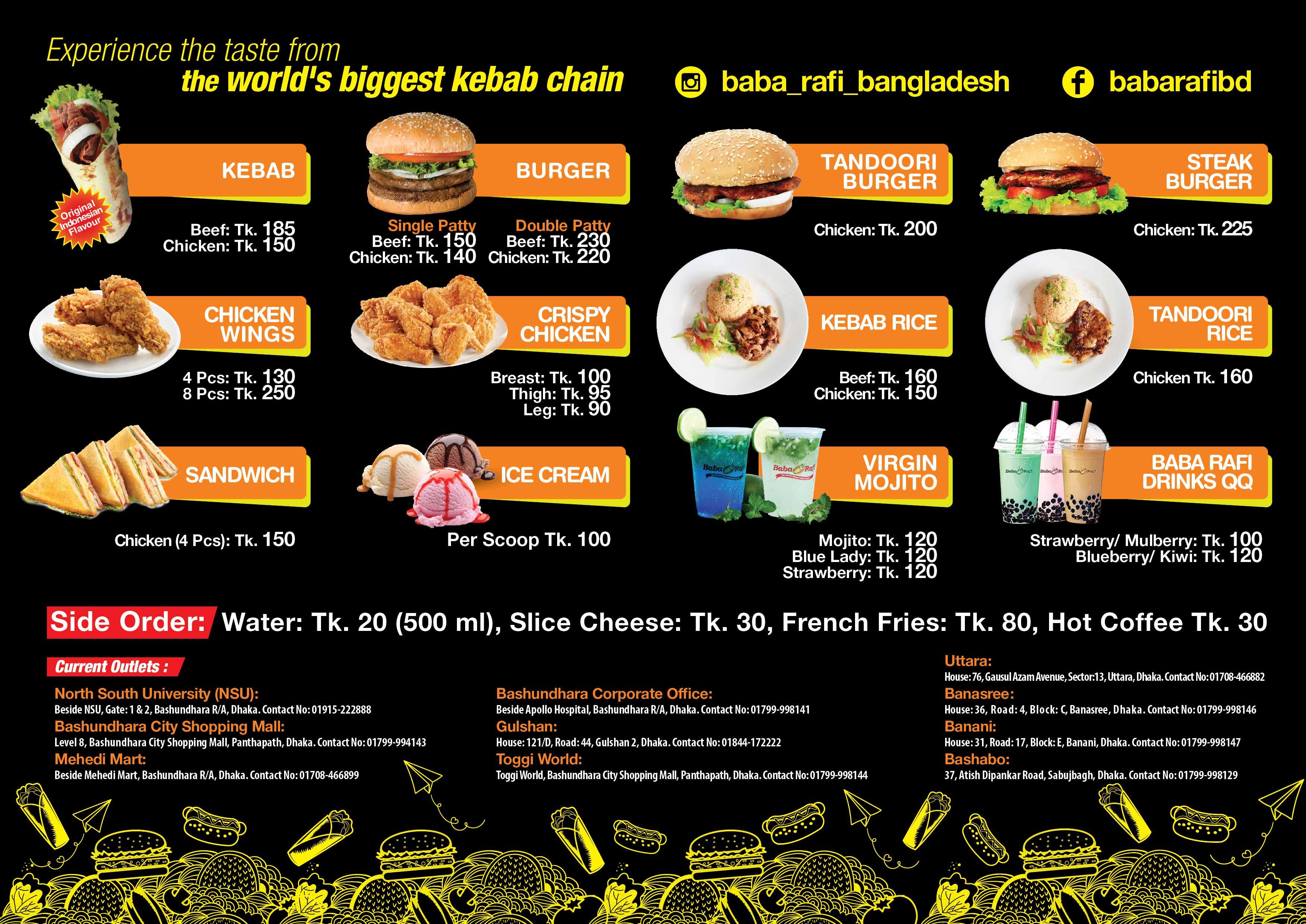 food menu baba rafi bangladesh